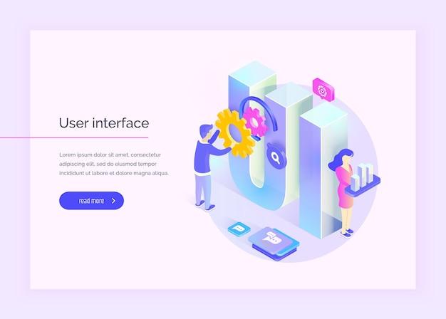 Interface utilisateur les personnes interagissent avec des parties de l'interface créer une interface utilisateur