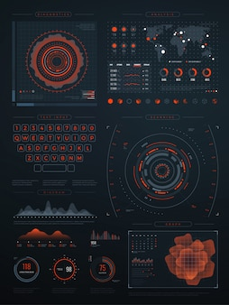 Interface virtuelle hud numérique futuriste. écran de technologie vectorielle avec des graphiques de données. illustration de l'interface avec les données numériques