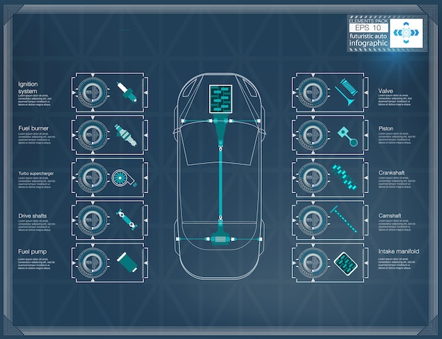 Interface de voiture utilisateur futuriste. hud ui. interface utilisateur tactile graphique virtuelle abstraite. infographie de voitures. illustration.