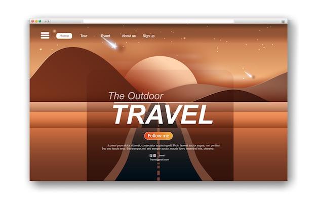 Interface web paysage route montagnes