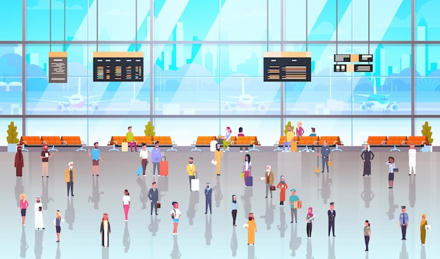Intérieur de l'aéroport moderne, passagers avec bagages