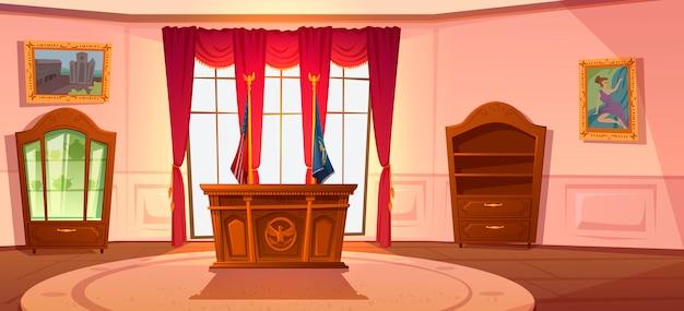 Intérieur de l'armoire ovale, président du lieu de travail américain