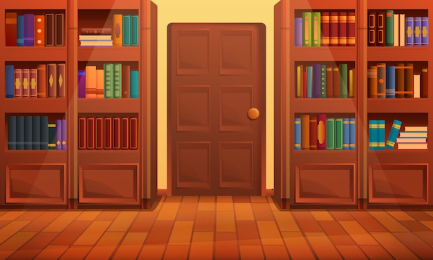 Intérieur de bibliothèque de dessin animé, illustration vectorielle