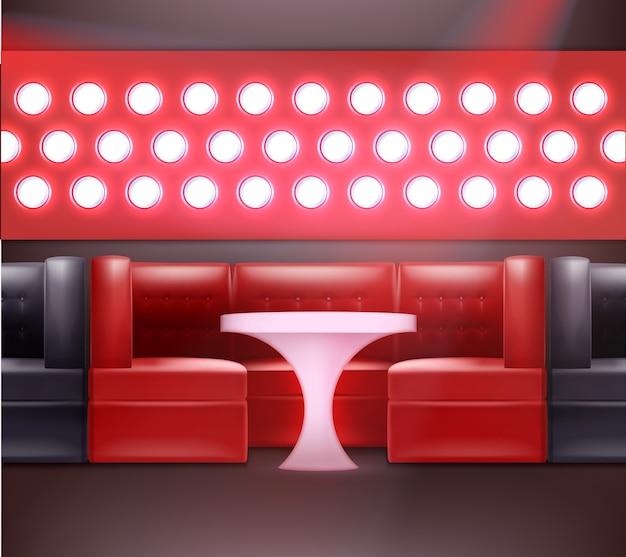 Intérieur de la boîte de nuit de vecteur dans les couleurs rouges et noires avec rétro-éclairage, fauteuils et table éclairée