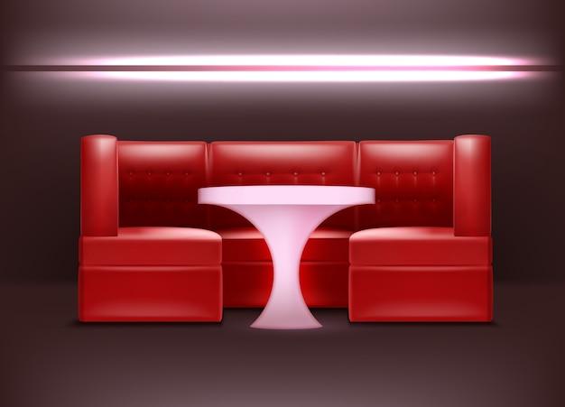 Intérieur de boîte de nuit de vecteur dans des couleurs rouges avec rétro-éclairage, fauteuils et table éclairée