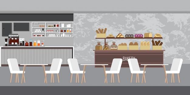 Intérieur de boulangerie moderne, café avec comptoir d'affichage.