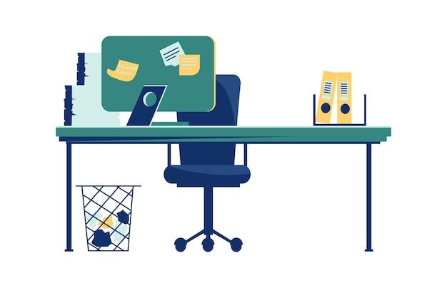 Intérieur de bureau isolé sur dessin animé blanc