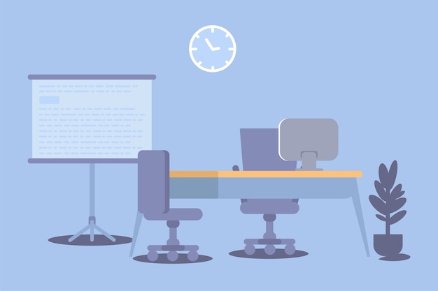 Intérieur de bureau, lieu de travail d'entreprise vide, conception d'espace de travail, table, ordinateur, chaises, horloge murale, tableau blanc de présentation