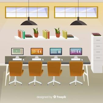 Intérieur de bureau moderne avec un design plat