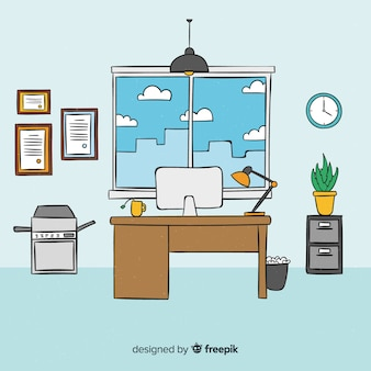 Intérieur de bureau moderne dessiné à la main