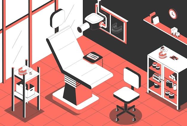 Intérieur de bureau d'orthodontiste de clinique dentaire avec chaise patiente instruments de machine de radiographie vue isométrique d'implant