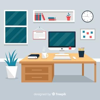 Intérieur de bureau professionnel avec design plat