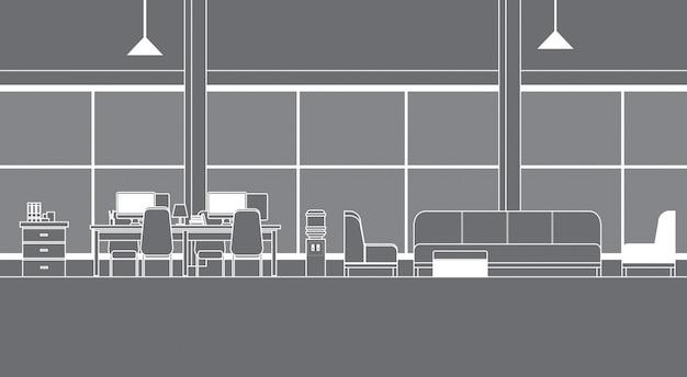 Intérieur de bureau virtuel avec bureaux coworking space thin line vr technology
