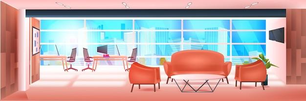 Intérieur de bureau de zone de coworking moderne vide aucun peuple espace ouvert armoire avec mobilier