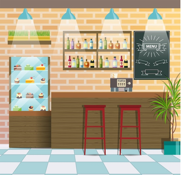 Intérieur d'un café ou d'un bar. illustration vectorielle