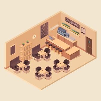 Intérieur de café isométrique de dessin animé, illustration vectorielle
