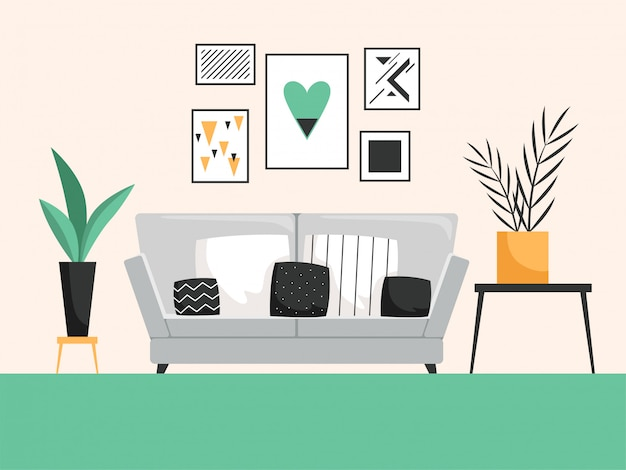 Intérieur avec canapé. salon avec mobilier cofortable composition vectorielle détaillée