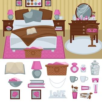 Intérieur de chambre à coucher femme avec des meubles.