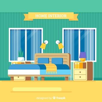 Intérieur de chambre à coucher moderne avec un design plat