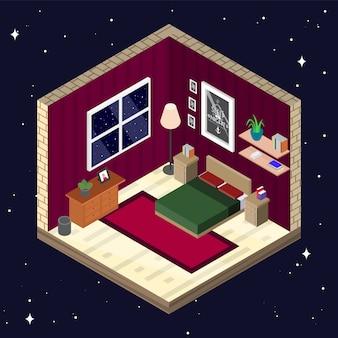 Intérieur de la chambre dans un style isométrique