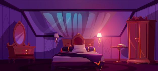 Intérieur de chambre de luxe sur le grenier la nuit. chambre à coucher mansardée de dessin animé de vecteur avec lit