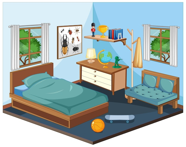 Intérieur de la chambre avec des meubles dans le thème bleu