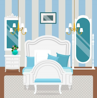 Intérieur de la chambre avec des meubles de style classique.