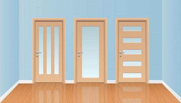Intérieur de chambre réaliste avec illustration de plancher en bois
