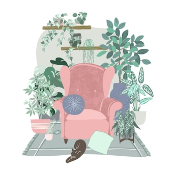 Intérieur de chambre scandi confortable avec beaucoup de plantes en pots, concept de jungle urbaine, illustration plate dessinée à la main