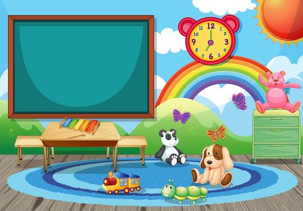 Intérieur de classe de maternelle vide avec tableau et jouets pour enfants