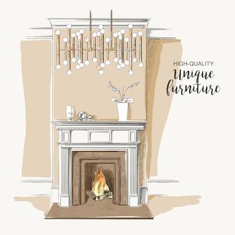 Intérieur classique du salon avec cheminée