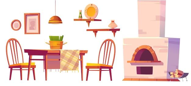 Intérieur confortable de café ou de pizzeria avec four, table et chaises en bois, étagères et lampe.