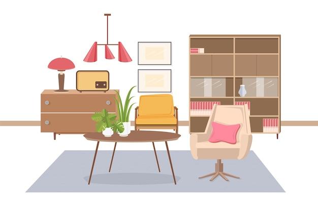 Intérieur confortable du salon meublé avec des meubles à l'ancienne urss ou soviétiques - fauteuil, table basse, lampe, émetteur radio, buffet, suspension