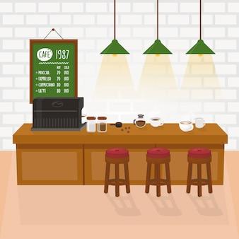 Intérieur confortable avec machine à café, table et mur de briques blanches.