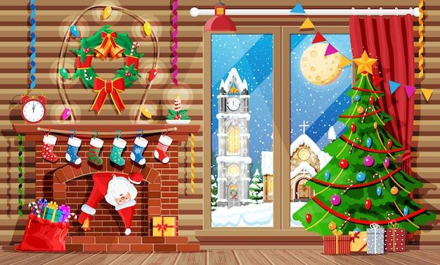 Intérieur confortable de la pièce avec fenêtre et cheminée