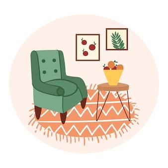Intérieur cosy de la chambre fauteuil table peintures tapis