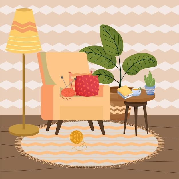 Intérieur cosy de style scandinave hygge avec fauteuil lampadaire table basse