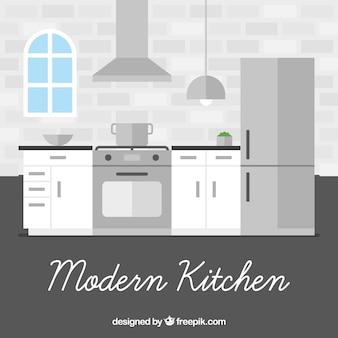 Intérieur de cuisine au design moderne plat