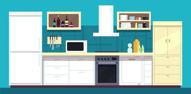 Intérieur de cuisine de bande dessinée avec réfrigérateur, four et autres appareils de cuisine domestique