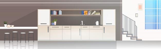 Intérieur de cuisine de bureau moderne vide pas de salle à manger avec des meubles