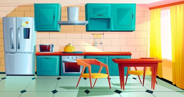 Intérieur de cuisine avec dessin animé de meubles en bois