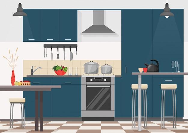 Intérieur de cuisine de dessin animé