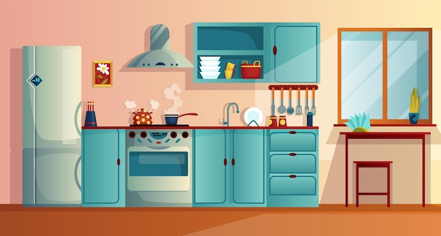 Intérieur de cuisine avec illustration vectorielle de meubles dessin animé. cuisine maison avec table à manger en bois, armoires de cuisine, réfrigérateur four, plaque de cuisson et hotte aspirante. appareils pour la maison.