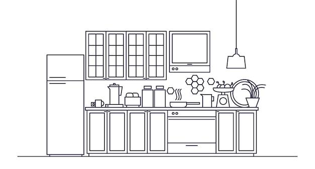 Intérieur de la cuisine meublée moderne avec appareils électroménagers, ustensiles de cuisine, ustensiles de cuisine, ustensiles de cuisine, installations, outils et équipement, décorations pour la maison