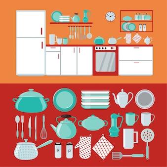 Intérieur de cuisine avec meubles et vaisselle et couverts