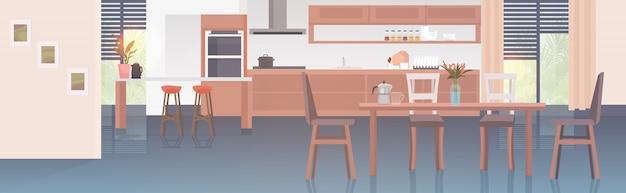 L'intérieur de la cuisine moderne vide pas de gens maison chambre avec mobilier horizontal