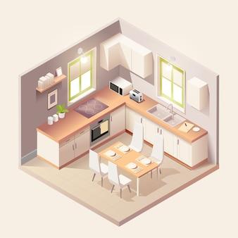 Intérieur de la cuisine noire moderne avec des meubles et des appareils ménagers de style isométrique