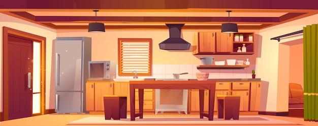 Intérieur de cuisine de vecteur dans une maison rustique