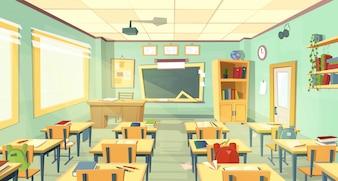 Intérieur de la classe de l'école. Université, concept pédagogique, tableau noir, table