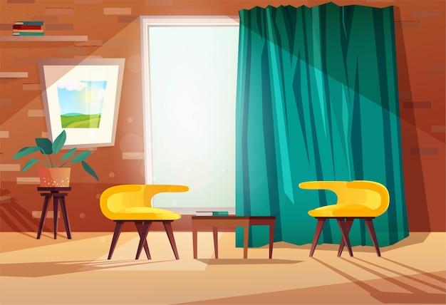 Intérieur de dessin animé de salon avec fauteuils, table, image sur le mur, une fenêtre et un rideau. mur de briques avec étagères.